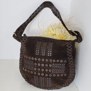 Express Boho Embellished Suede Leather Brown Bag